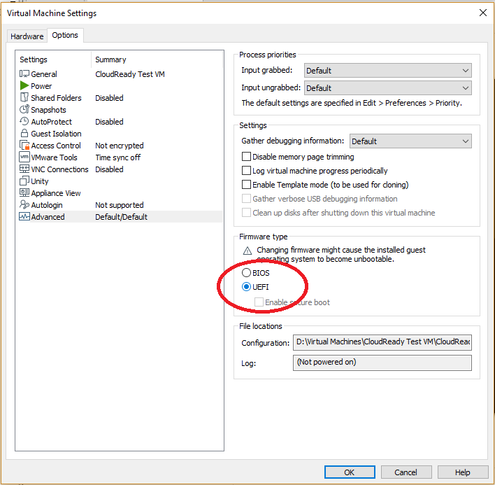 How To: Manually Create A CloudReady VM In VMware Workstation 15